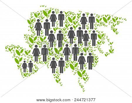 People Population And Eco Asia Map. Vector Pattern Of Asia Map Created Of Scattered People And Bloss