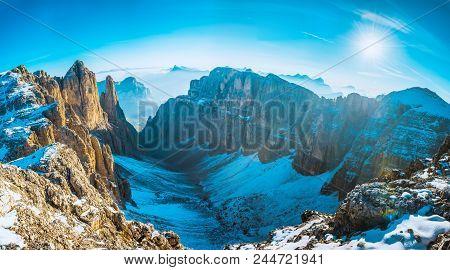 View To Mountains Sella Ronda Dolomites Italy
