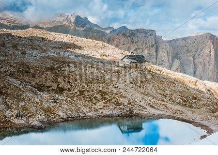 View To Rifugio Pisciadu On Sella Ronda Dolomites Italy