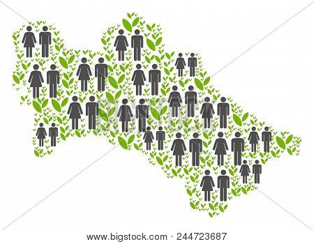 People Population And Eco Turkmenistan Map. Vector Composition Of Turkmenistan Map Composed Of Rando