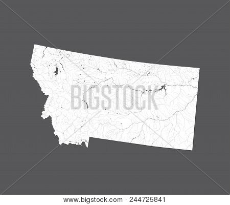 U.s. States - Map Of Montana. Hand Made. Rivers And Lakes Are Shown. Please Look At My Other Images