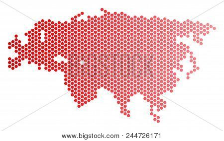 Red Dotted Eurasia Map. Geographic Plan In Red Color With Horizontal Gradient. Vector Concept Of Eur