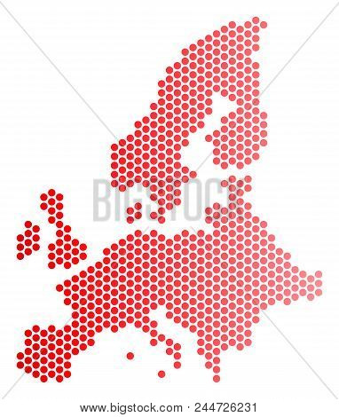 Red Round Spot European Union Map. Geographic Scheme In Red Color With Horizontal Gradient. Vector C