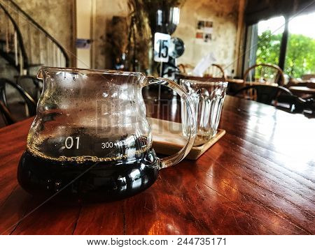 Drip Coffee Cafe, Pitcher Of Drip Coffee On The Wooden Table, Coffee Time