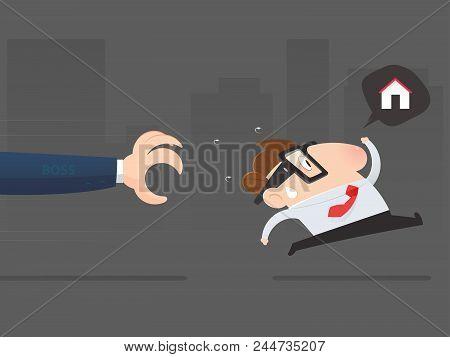 Cartoon Businessman Avoid From Job, Backlog And Overtime, Vector Illustration