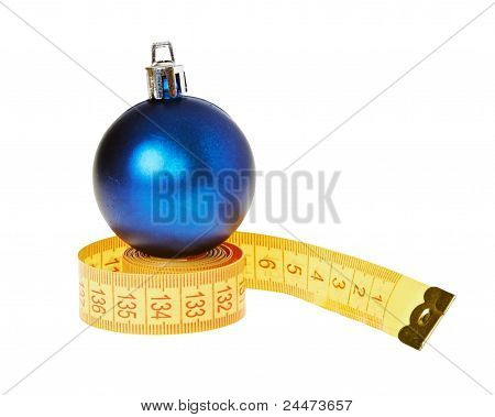 New Year Ball On A Ruler Isolated