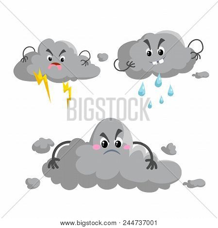 Cartoon Overcast Storm Cloud With Thunderstorm Mascotsset. Weather Rain And Storm Symbols. Vector Il