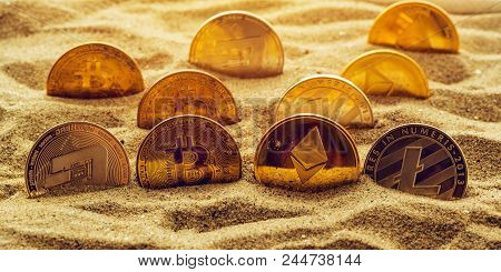 Cryptocurrency Coins In Sand, Conceptual Image For Lost And Found Valuables That Are Standing The Te