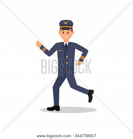 Pilot Of Airplane In Running Action. Young Smiling Man In Working Uniform. Cartoon Character Of Prof