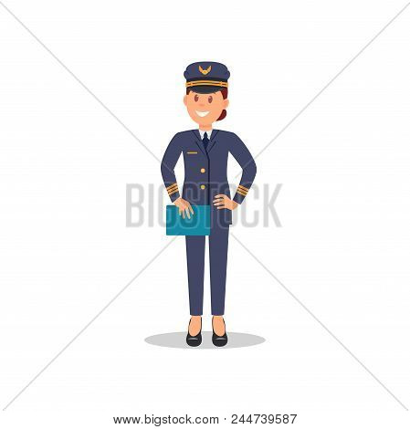 Smiling Woman Pilot With Blue Folder In Hand. Captain Of Passenger Plane. Cartoon Female Character I