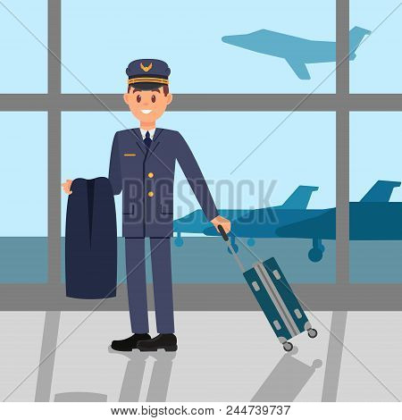 Young Pilot Standing In Airport, Holding Jacket And Suitcase. Cartoon Character Of Captain In Workin