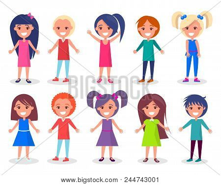 Smiling Kids Set Of Boys And Girls In Colorful Clothes Isolated On White Background, Vector Illustra