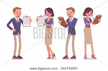 Male And Female Office Secretary With Clipboard. Smart Man And Attractive Woman In Elegant Wear, Ass