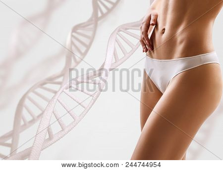 Woman with perfect body near DNA stems. Slimming concept. Improvement of metabolism concept. poster