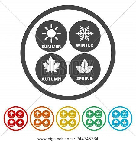 Four Seasons, Season Icon, 6 Colors Included, Simple Icons Set