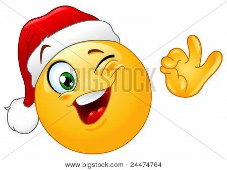 Winking Emoticon With Santa Hat