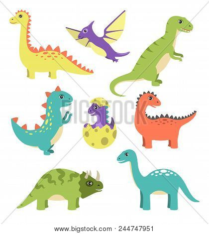 Creatures Types Of Dinosaurs, Dinosaurs With Spikes, Wigs And Long Tails, Egg And Small Dinosaur Vec