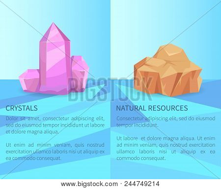 Crystals And Natural Resources, Precious Realistic Minerals Posters With Text, Transparent Crystals