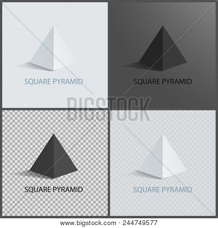 Square Pyramid Set On Dark Light And Transparent Backgrounds, Three Dimensional Geometric Shapes Of