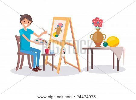 Cheerful painter at work, vector illustration with young painter, holding a palette with varied colors and paintbrush, exposition from fruits and pot poster
