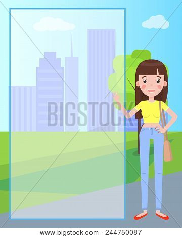 Pretty Brunette Woman On Background Of Skyscrapers, Transparent Frame For Text, Male Cartoon Charact