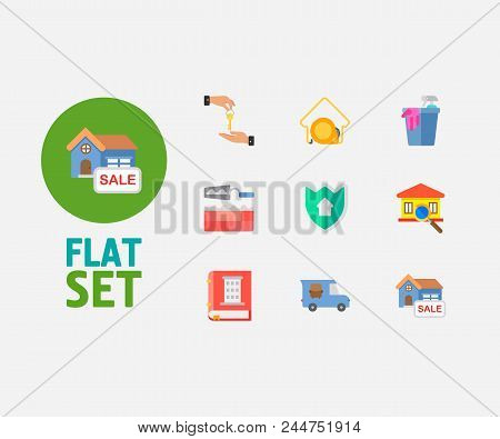 Real Estate Icons Set. Deal And Real Estate Icons With Cleaning Service, Real Estate Law And House F