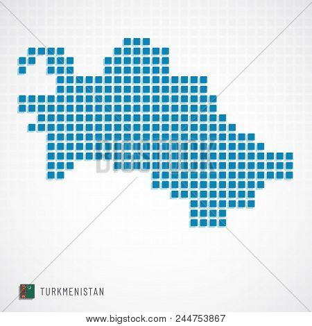 Turkmenistan Map And Flag Icon