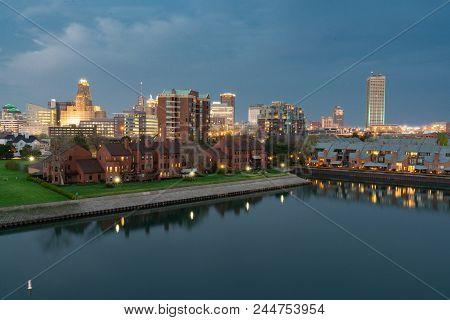Night Aerial Skyline Of Buffalo New York