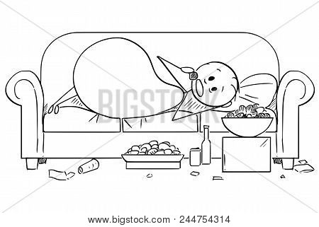 Cartoon Stick Drawing Illustration Of Fat Or Overweight Man Lying On Couch And Eating Unhealthy Food