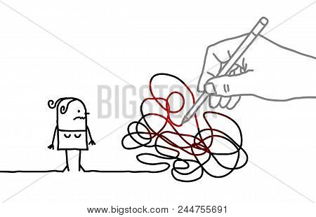 Big Drawing Hand With Cartoon Woman - Tangled Path