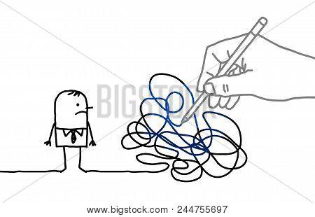 Big Drawing Hand With Cartoon Man - Tangled Path