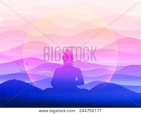 Meditating Buddha Sits In Silence In The Background Of The Hills In The Morning Haze. Zen, Pacificat