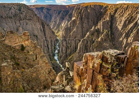 Looking Down To The Gunnison River Along Black Canyon Of The Gunnison Np, Colorado