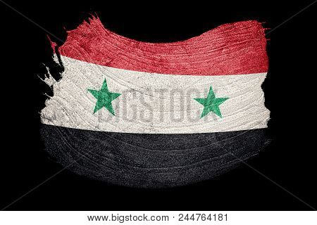 Grunge Syria Flag. Syrian Flag With Grunge Texture. Brush Stroke.