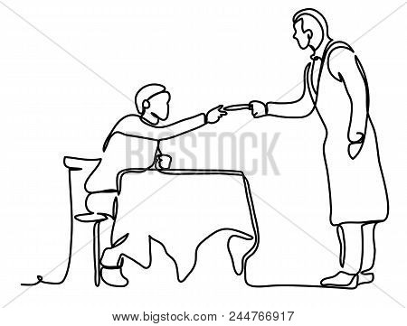 People, Payment And Finance Concept - The Guy Pays With The Waiter. Continuous Line Drawing. Isolate