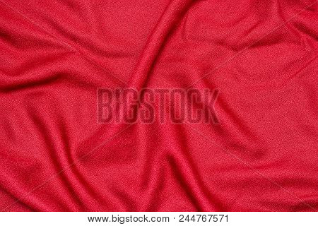 Red Seamless Fabric Textile. Close Up Texture