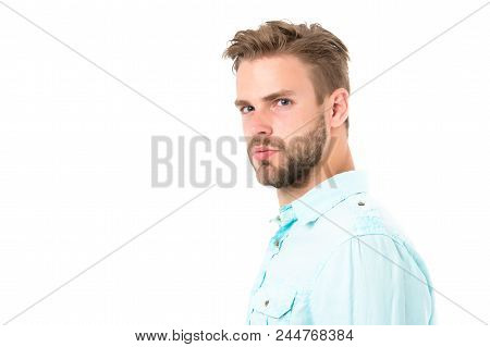 Metrosexual Concept. Man Bristle Serious Strict Face Looks Back, Isolated White. Man Beard Unshaven