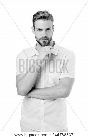 Let Me Think. Man With Bristle Serious Face, White Background. Guy Bearded Thoughtful Touches Bristl