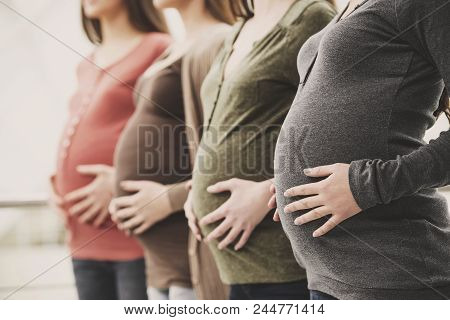 Close Up.side View Of Three Pregnant Women Touching Their Bellies With Hands.maternity Concept.