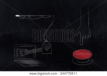 Declutter Your Inbox Conceptual Illustration: Laptop With Email Popping Out Of Screen With Spring An