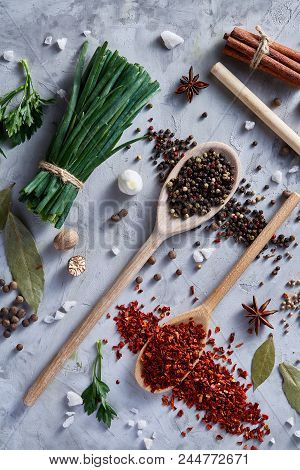 Culinary Still Life Of Assorted Spices On White Textured Background, Flat Lay, Close-up, Selective F