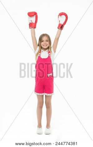 Winner Takes It All. Girl On Smiling Face Posing With Boxing Gloves As Winner, Isolated White Backgr