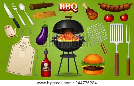 Barbecue Grill Elements Set Isolated On Red Background. Bbq Party. Summer Time. Meat Restaurant At H