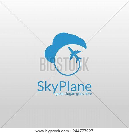 Sky Plane. Plane Logo Template. Isolated Plane Logotype.