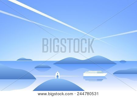 Sea Landscape. Mediterranean Sea With Islands, Small Chirch And Ferry. Greek Vacation Background. Fl