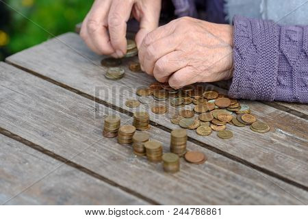 Money, Coins, The Grandmother On Pension And The Concept Of Life, Minimum - Wrinkled Hands Of The Ol