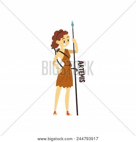 Artemis Olympian Greek Goddess, Ancient Greece Mythology Character Vector Illustration Isolated On A