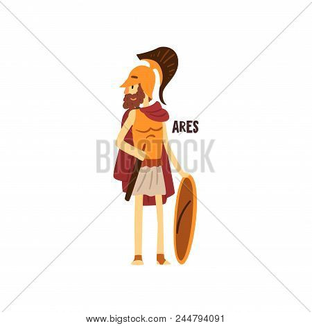 Ares Olympian Greek God, Ancient Greece Mythology Character Vector Illustration Isolated On A White