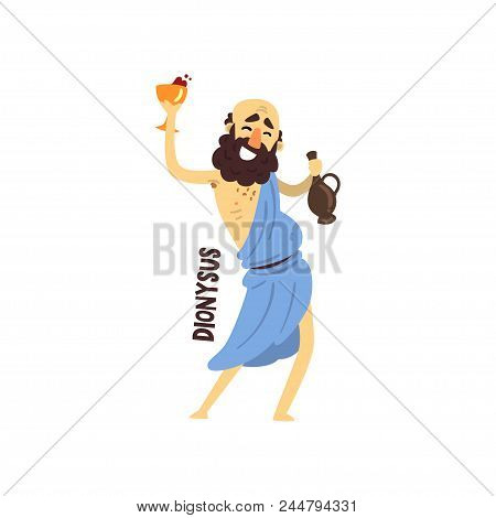 Dionysus Olympian Greek God, Ancient Greece Mythology Character Vector Illustration Isolated On A Wh