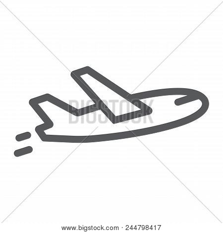 Airplane Flight Line Icon, Travel And Tourism, Plane Sign Vector Graphics, A Linear Pattern On A Whi